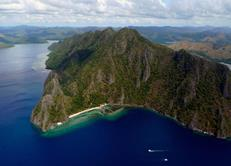 Philippines Scuba Diving Holiday. Sangat Island Aerial View.