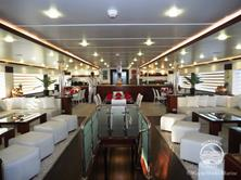Oman Scuba Diving Holiday. Luxury Oman Aggressor Liveaboard. Salon and Dining Area.
