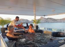 Oman Scuba Diving Holiday. Luxury Oman Aggressor Liveaboard. Jacuzzi.